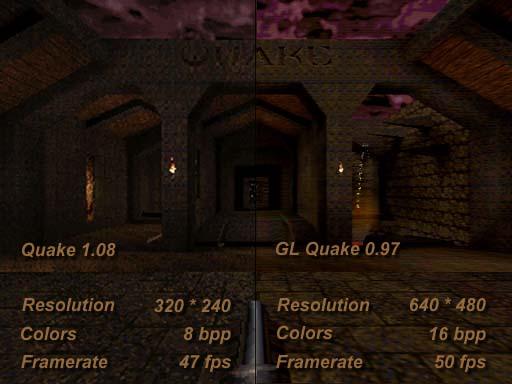 Comparaison Quake vs. GLQuake