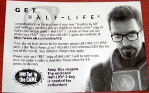 Le coupon permettant d'obtenir HL2 gratuitement avec une carte ATI